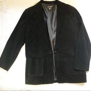 Vintage women's Suede leather boyfriend blazer 12
